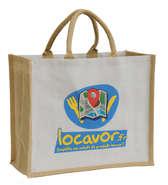 Shopper Jute zweifarbig personalisierbar 'Locavor' : Ladentaschen einkaufstaschen modetaschen