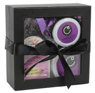 Geschenkschachtel schwarz m. Fenster u. Schleife : Geschenkschachtel präsentbox