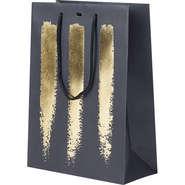 Geschenktasche schwarz/gold m. Tragekordeln : Ladentaschen einkaufstaschen