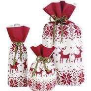 Geschenk-Säckchen rot/weiß 'Norwegen' : Verpackung fur flaschen und regionalprodukte