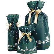 Geschenk-Säckchen grün-weiß 'Tannenbäume' : Verpackung fur flaschen und regionalprodukte