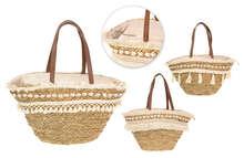3er- Shopper Korb Baumwolle m. Muscheln : Ladentaschen einkaufstaschen modetaschen