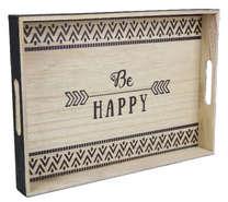 Holztablett schwarz BE HAPPY : Tabletts und servierplatten