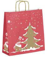 Kauf Krafttasche gold/ rot 'weißer Tannenbaum'
