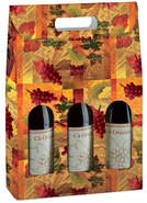 Geschenkschachtel Pappe 3-Fl. bedruckt 'Weinstock' m. Fenster : Verpackung fur flaschen und regionalprodukte