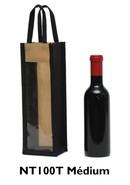 Vliestasche 1-Flasche 37,5/50 cl m. Fenster : Verpackung fur flaschen und regionalprodukte