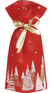 Sac / pochon intissé sapins ruban satin or : Verpackung für bäkerei konditorei