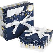 "Coffret carton à ruban ""Bonnes fêtes"" : Geschenkschachtel präsentbox"