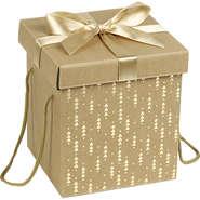 Coffret carton cadeau or et rouge : Geschenkschachtel präsentbox