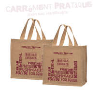 """Sacs cabas jute """"Carrément Pratique"""" : Ladentaschen einkaufstaschen"""