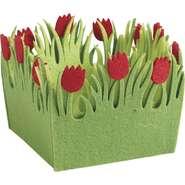 Mini corbeille carrée en feutrine tulipe  : Korb geschenkkorb