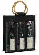 Geschenktasche Jute 3-Flaschen 75 cl m. Fenstern & Rattangriffen : Verpackung fur flaschen und regionalprodukte