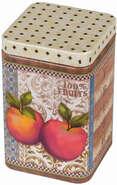 Metallbox 4-eckig Tee 'APPLES' : Geschenkschachtel präsentbox