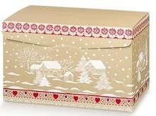 Geschenkschachtel Pappe 4-eckig rot/ gold 'Schneelandschaft' : Geschenkschachtel präsentbox