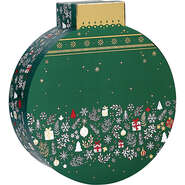 Geschenkschachtel Pappe m. Deckel Form 'Weihnachtskugel' : Verpackung für feste