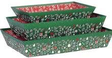 Geschenkkorb Pappe 4-eckig grün/ rot/ gold Weihnachten : Korb geschenkkorb präsentierungskorb