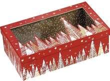 Geschenkschachtel Pappe 4-eckig rot/ gold mit Deckel transparent : Geschenkschachtel präsentbox
