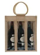 Geschenktasche Jute 3-Flaschen m. Fenstern & Rattangriffen : Verpackung fur flaschen und regionalprodukte