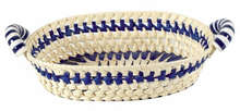 Präsentierungskorb Palmblatt Spaltweide natur-blau m. Keramik-Griffen : Korb geschenkkorb präsentierungskorb