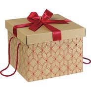 Geschenkschachtel 4-eckig Kraft rote Linien : Recherche
