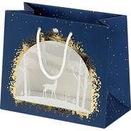 Geschenktasche Pappe m. Fenster 'Winter' : Ladentaschen einkaufstaschen