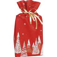 Sac polypropylène intissé rouge/blanc/or sapins : Verpackung für bäkerei konditorei