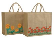 Shopper Jute Mohn-/ Sonnenblumen : Ladentaschen einkaufstaschen
