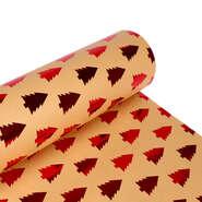 Papier cadeaux  kraft brun sapin rouge  : Verpackungzubehör