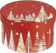 Coffret carton rond  rouge/blanc/ : Geschenkschachtel präsentbox