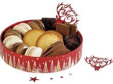 Corbeille carton ronde Bonnes fêtes rouge : Geschenkschachtel präsentbox