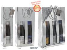 Geschenktasche 1/2/3 Flaschen silber : Verpackung fur flaschen und regionalprodukte