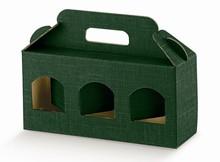 Geschenkschachtel Karton grün 3 Gefässe H.9 cm : Verpackung für einmachgläser konfitürenglas preserve