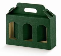 Geschenkschachtel Karton grün 3 Gefässe H.12 cm : Verpackung für einmachgläser konfitürenglas preserve