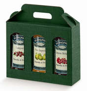 Geschenkschachtel Karton gelb 3 Gefässe H.15 cm : Verpackung für einmachgläser konfitürenglas preserve
