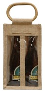 Geschenktasche Jute 2-Flaschen 37,5 cl m. Fenstern & Rattangriffen : Verpackung fur flaschen und regionalprodukte