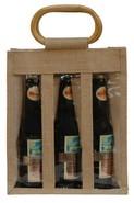 Geschenktasche Jute 3-Flaschen 37,5 cl m. Fenstern & Rattangriffen : Verpackung fur flaschen und regionalprodukte
