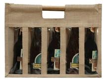 Geschenktasche Jute 5-Flaschen 37,5 cl m. Fenstern & Rattangriffen : Verpackung fur flaschen und regionalprodukte