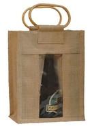 Geschenktasche Jute 6-Flaschen 37,5 cl m. Fenster & Rattangriffen : Verpackung fur flaschen und regionalprodukte