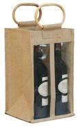 Geschenktasche Jute 4-Flaschen m. Fenstern u. Rattangriffen : Verpackung fur flaschen und regionalprodukte