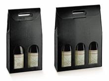 Flaschenkarton schwarz Leder 2/3-Flaschen Champagner : Verpackung fur flaschen und regionalprodukte