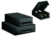 Geschenkkiste schwarz Lederprägung 2/3-Flaschen : Verpackung fur flaschen und regionalprodukte