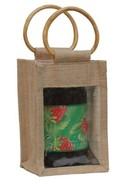 Geschenktasche Jute 1-Glas 1Kg m. Fenster & Rattangriffen : Verpackung für glasbehälter konfitürenglas preserve