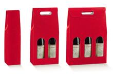 Weinkarton rot Lederprägung 1/2/3 Flaschen : Verpackung fur flaschen und regionalprodukte