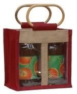 Geschenktasche Jute 2-Gläser 1Gr m. Fenster & Rattangriffen : Verpackung für glasbehälter konfitürenglas preserve