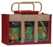 Geschenktasche Jute 3-Gläser 1Kg m. Fenster & Rattangriffen : Verpackung für einmachgläser konfitürenglas preserve