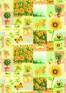 Rolle Geschenkpapier Kraft blau/weiss Sonnenblumen : Verpackungzubehör