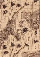 Rolle Geschenkpapier Kraft bedr. alte Weltkarte : Verpackungzubehör