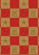 Rolle Geschenkpapier Kraft natur/rot+gold : Verpackungzubehör