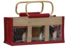 Geschenktasche Jute 3-Gläser 500Gr m. Fenster & Rattangriffen : Verpackung für glasbehälter konfitürenglas preserve