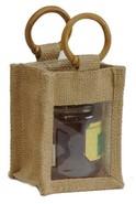Geschenktasche Jute 1-Glas 250Gr. m. Fenster Rattangriffen : Verpackung für glasbehälter konfitürenglas preserve